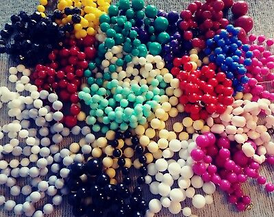 Vintage Beaded Necklace Lot of 18 Pretty Shades Of Plastic Beads Length Asst Fun