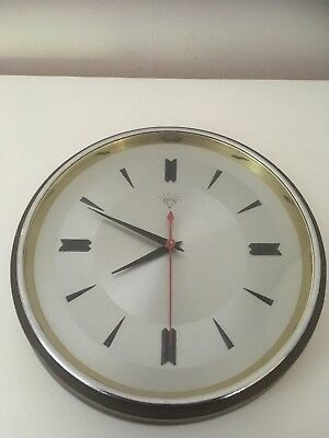 Vintage/Mid Century Industrial Shanghai Diamond  battery operated wall clock.