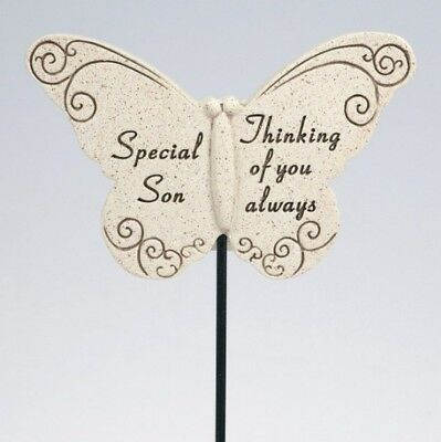 David Fischoff Special Son Butterfly Stick Grave Memorial Stone Ornament