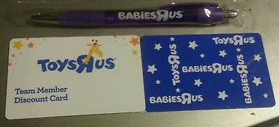 Toys Babies R Us Time Entry & Discount Card & pen Collectible Vintage Rare New