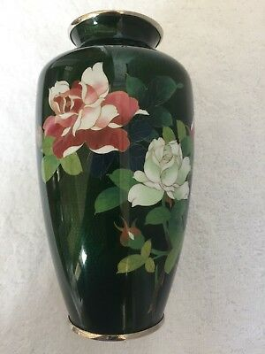 """Vintage Japanese Cloisonné Vase 7"""" High Ginbari with Flowers in Green Foil"""