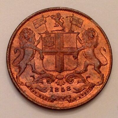 - 1858 East India Company Quarter 1/4 Anna Mint Red & Brown Uncirculated Unc