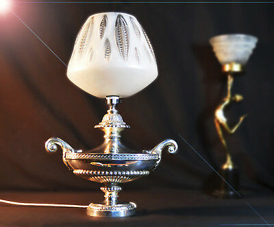 Rare 1940s ornate heavy silver-plated two handled Aladdin's table lamp