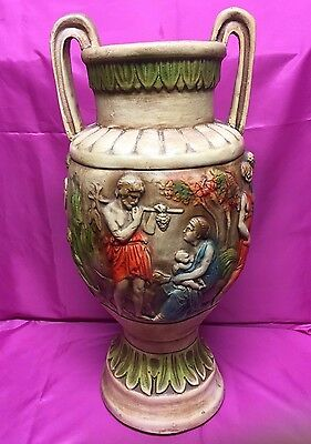 Antique Handmade GREEK or  ROMAN SCENE  Vase Art Deco Two-Handled - NICE!!