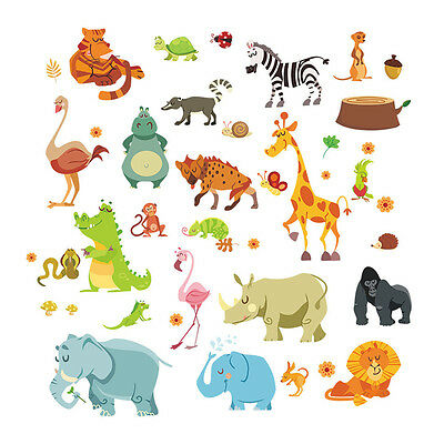 Animals Wall Stickers for Kids Nursery Rooms Monkey Elephant Horse Wall Decal ON