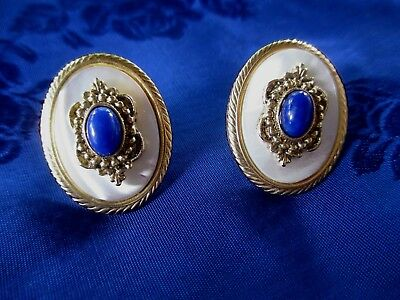 Vintage Faux Mother Of Pearl Faux Lapis Lazuli Pierced Earrings