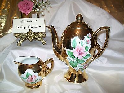 Antique Gold Porcelain Chocolate Pot & Creamer Pink Flowers Bavaria Hallmark