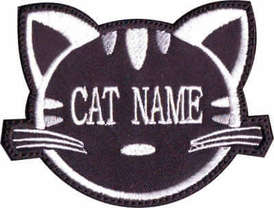 Custom Cat Face Name ( Black ) Embroidered Patch