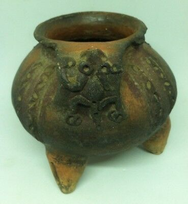 Antique Pre Columbian Tripod Jar with Rattle Supports Chained Frog Clay Pottery