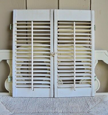 Pair of Vintage Wood Louvered Shutters 24 x 11