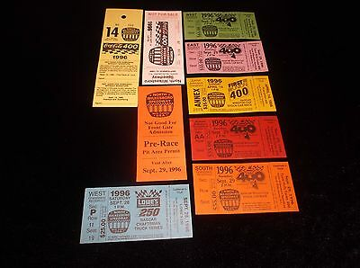 Lot Of 9 Collectible Unused 1996 NASCAR Fan Racing Tickets NOS New Old Stock MNT
