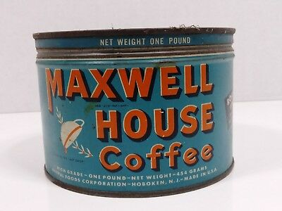 vintage 1 one pound blue label Maxwell House Coffee tin with lid & key attached