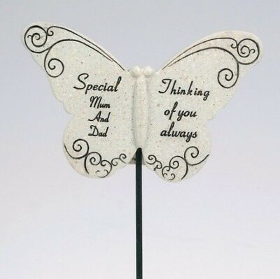 David Fischoff Special Mum & Dad Butterfly Stick Grave Memorial Stone Ornament