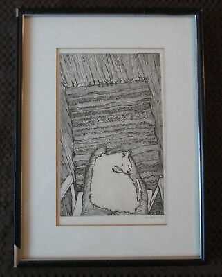 Vintage Karen Adolph Etching Print of Siamese White Cat Sleeping Signed & Dated