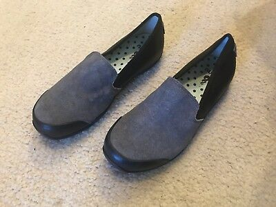 AHNU Women's Penny Slip-On Leather GREY and BLACK Removable Comfort Sole Size 7
