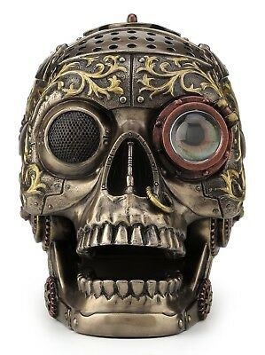 """Steampunk Decorative Skull With Moving Jaw 8"""" Cold Cast Bronze Statue"""