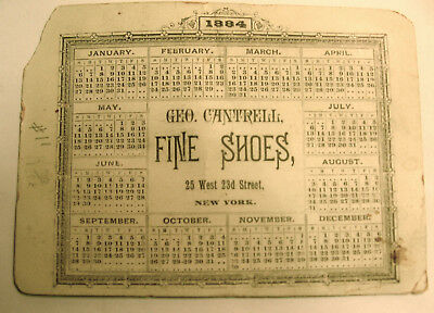 1884 Calendar Card from NYC Shoe Store