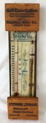 1890's veterinary•GALL CURE HORSE COLLARS•Milligan NE Drugstore•THERMOMETER•sign