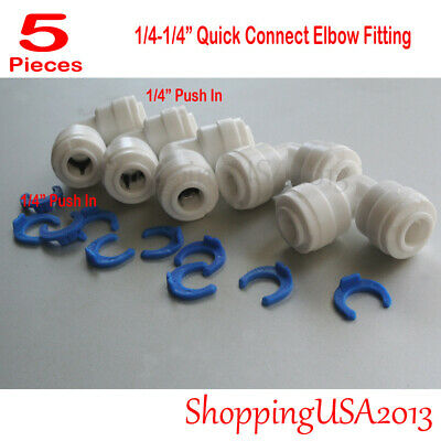 "5 X 1/4""-1/4"" Quick Connect Elbow Fitting Push In Water Filters/RO System**"