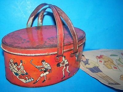 Antique Rare Vintage Childs School  Lunch Pail Tin Sports Graphics  With Bonus