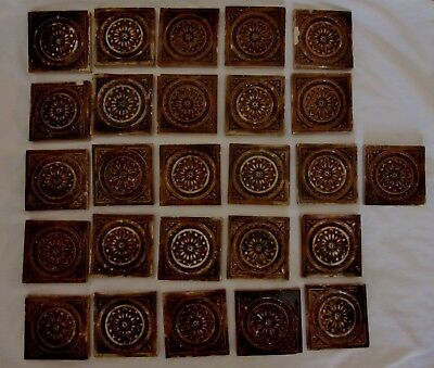 Lot of 26 Burmantoft Faience Wilcock and Leeds Co Tiles -1800's- Brown & Tan- 3""