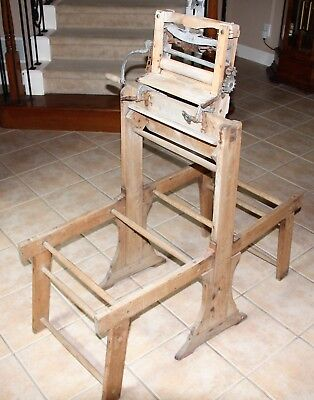 Antique Primitive Vintage Wood Wringer Folding Wood Wash Tub Stand Wash Anchor