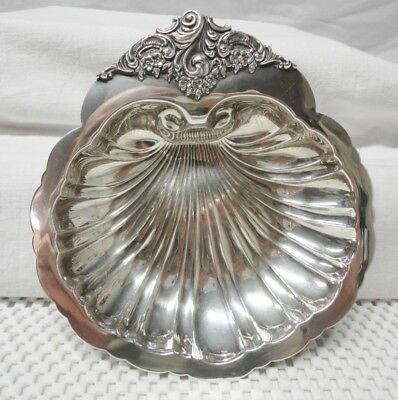 Vintage Wallace #277 Baroque Silver Plate Shell BonBon Bowl w/ Silver Cloth Bag