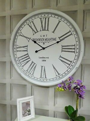 LARGE 80cm Shabby chic french style Grey Distressed wall clock Home Decor
