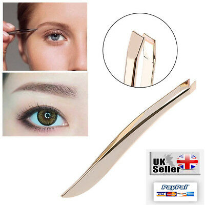Professional Eyebrow Tweezers Gold Feather Hair Slanted Tip Stainless Steel UK