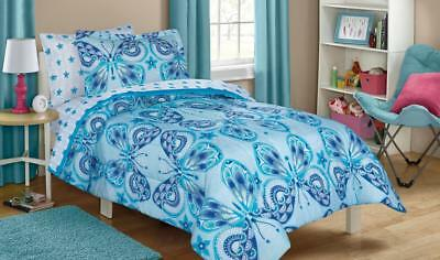All Sizes Blue Butterfly Boho Bed In A Bag Comforter Sheets Set
