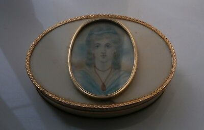Antique George III Rose Gold Mounted & Miniature Inset Snuff Box c1780-00