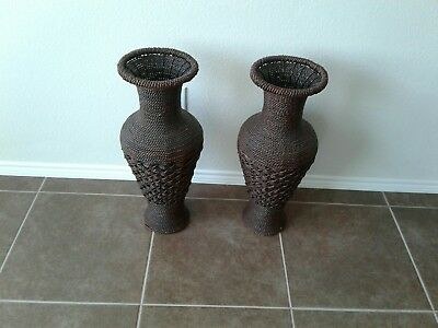 Tall Floor Vase 23 Big Brown Woven Hyacinth Decorative Large
