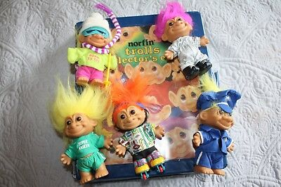 1992 Norfin Trolls Collector's Case & 5 Troll Dolls Russ rollerblade ski more!