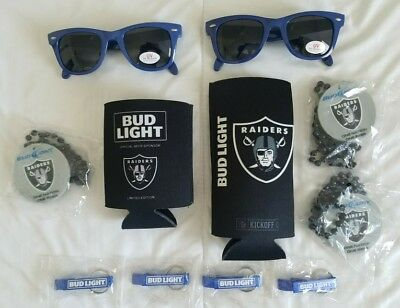 New BUD LIGHT Oakland RAIDERS Beer KOOZIES Keyring Openers SUNGLASSES Beads LOT