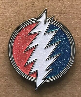 Grateful Dead Glitter Bolt Lapel Pin. Hat Pin. Steal Your Face.  High Quality!