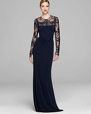18ef2ea12f7 David Meister ILLUSION Jersey NAVY Lace LONG Sleeve GOWN Drape Knot Sz 4  $700