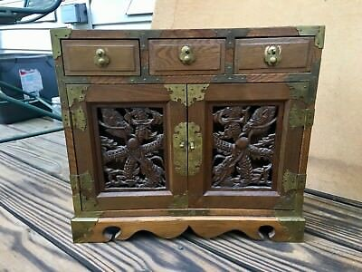 Small Korean Chest with Drawers and Dragon Carving Brass Wood Jewelry Lined