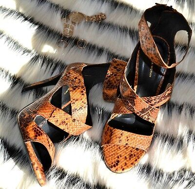 1aa0ff3c7b1 NWT ZARA Strappy Snake Embossed High Heeled Leather Sandals Brown Tan 5457  301