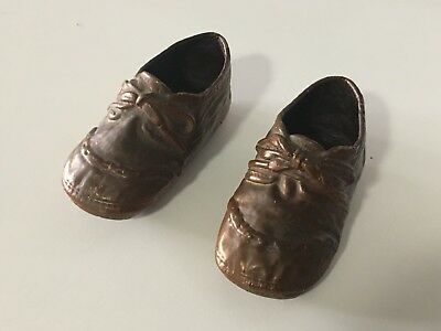 "Pair of antique vintage Bronze Copper Baby Shoes, small, Nursery 3 3/4"" long"