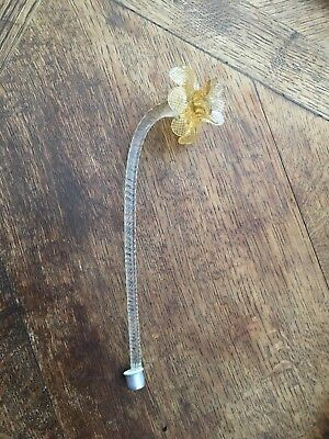murano venetian glass chandelier part clear stem with yellow flower