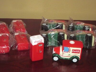 Coca-Cola miniature vintage truck and Vending machine plastic display pieces.
