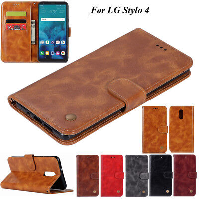 For LG Stylo 4, Luxury Wallet Retro Flip Leather Card Stand Magnetic Cover Case