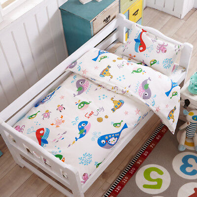 White Ocean Fish New Baby Bedding Crib Cot Set Quilt Cover Padded Cotton Nursery