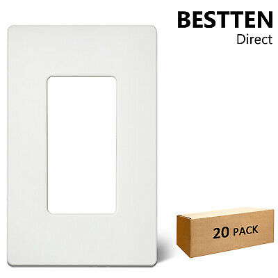20 Pack 1 Gang Decorator Screwless Wall Plate Outlet Cover for Decora Rocker