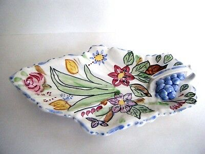 Blue Ridge China Handled Celery Canape Relish Plate Hand Painted Flowers Grapes