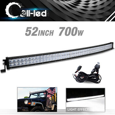"""52inch Led Light Bar Curved Spot Flood Combo Work Driving Offroad Truck SUV 50"""""""