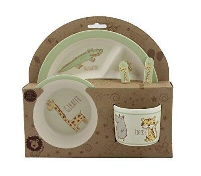 Beriwinkle Kids 5-Piece Meal Set Durable Toddler Dinner Set Eco-Friendly Bamboo