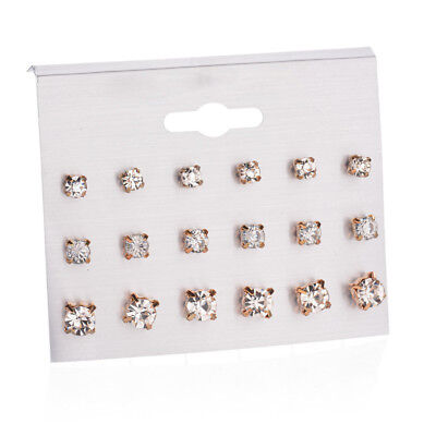 9 Pairs Fashion Cubic Zirconia Stud Earrings Gold Silver Crystal Earring Set New