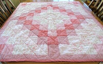 Handcrafted Baby Quilt/Crib Blanket 37 x 38 Pink