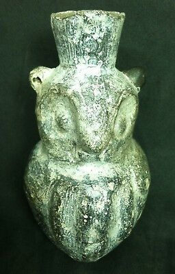 Pre Columbian Chimu Owl Bird Pottery Vase Ancient Clay Jar Figural Jug Vessel
